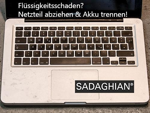 Keine Experimente mit Wasserschaden am MacBook!