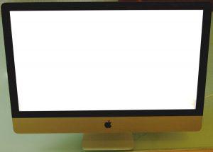 Ein iMac-Display ist beim Hochfahren im Startbildschirm eingefroren. Der Bildschirm ist weiß, der Ball dreht sich nicht mehr bzw der Ladebalken