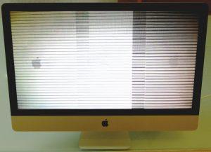 Streifen auf dem ganzen Bildschirm eines iMac aufgrund eines defekten Grafikchips (GPU)