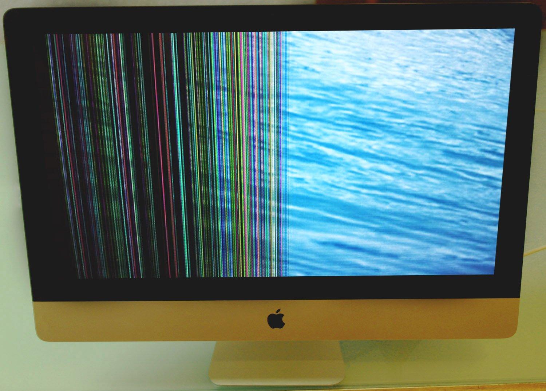 """Defektes iMac 27"""" Display mit bunten Streifen und dunklen Fläche"""