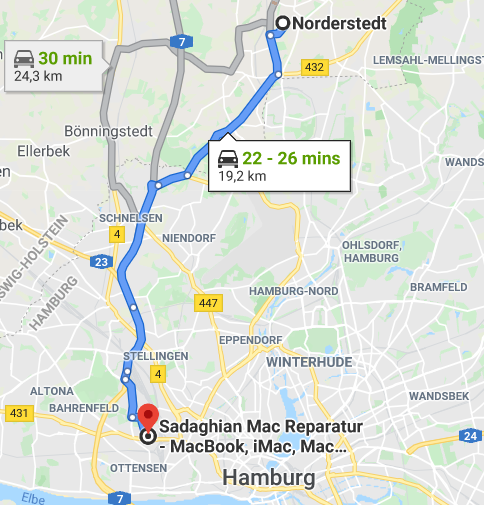 Norderstedt to Sadaghian Mac Reparatur - MacBook, iMac, Mac Mini und Mac Pro - map